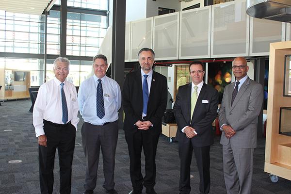 L-R Peter Ebell, Central, Professor Ken Greenwood, ECU, Professor Arshad Omari, ECU,  Professor Daryoush Habibi, ECU, Neil Fernandes, Central.