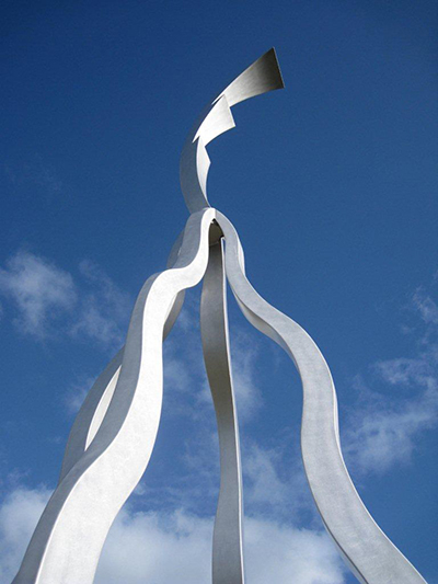 """Flare""- A 12 metre brushed marine grade aluminium sculpture for the Town of Kwinana."